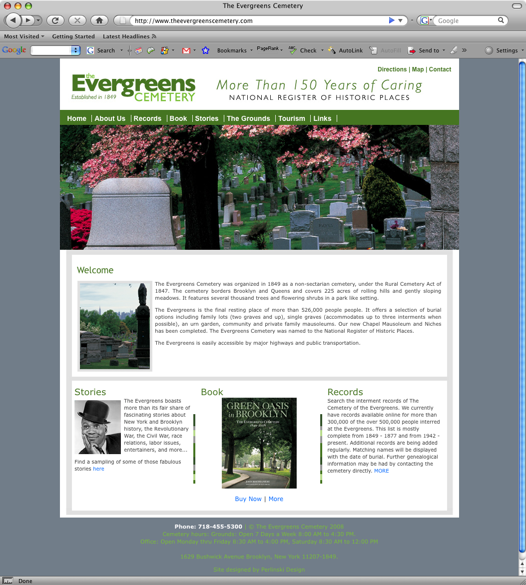 New Jersey Website Design - The Evergreens Cemetery