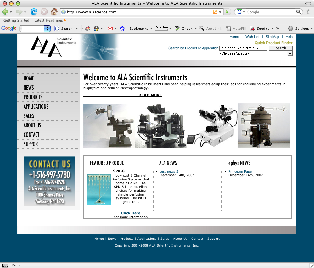 NJ Web Design - ALA Scientific Instruments