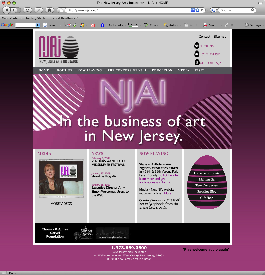 NJ Web Design - New Jersey Arts Incubator